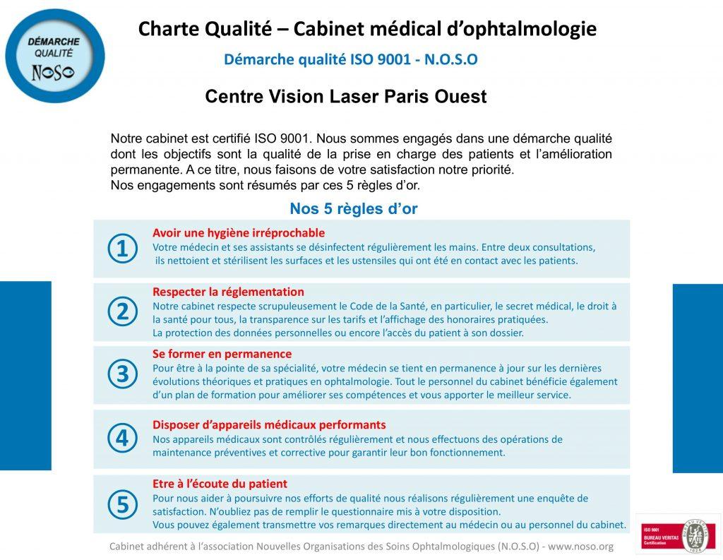 Charte qualité du Centre Vision Laser Paris Ouest